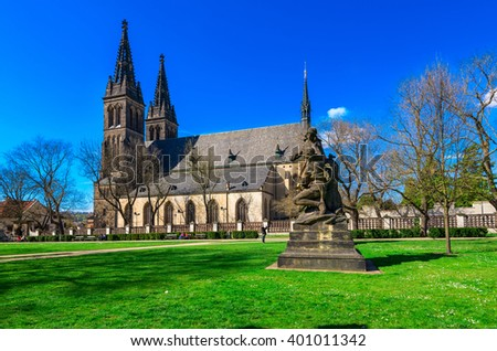 Neo Gothic Basilica of St Peter and St Paul in Vysehrad fortress in Prague, Czech Republic - stock photo