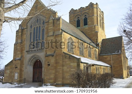 Neo gothic style church architecture in Saint Paul's west side neighborhood - stock photo