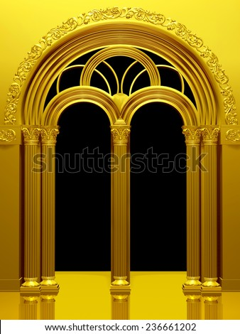 Neo-Romanesque arches, can be used as framing, foreground, background or text surround - stock photo
