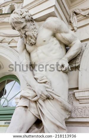 Neoclassic Statue of Bearded Man - stock photo
