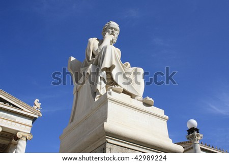 Neoclassical statue of ancient Greek philosopher Socrates in front of Academy of Athens, Greece