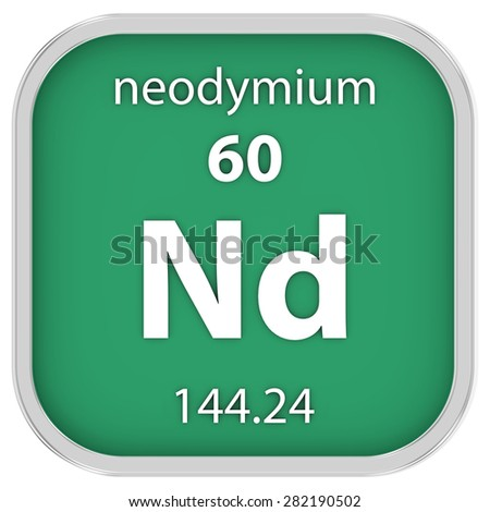Neodymium material on the periodic table. Part of a series. - stock photo