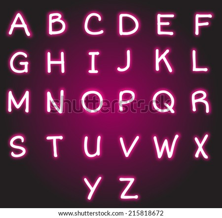 Double Neon Font Red Outside White Stock Vector #2: stock photo neon alphabet