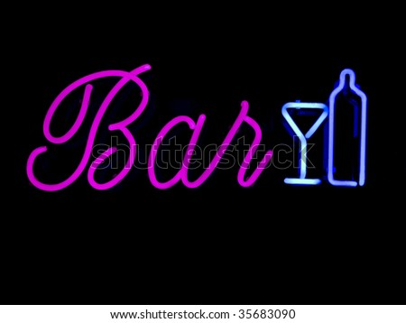 Neon BAR sign commonly found in retail windows - stock photo