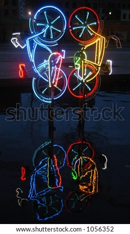 Neon Bicycles in Berlin, Germany - stock photo