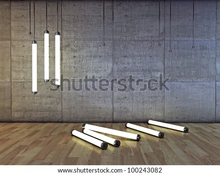 neon bulbs in concrete room