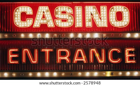 Neon casino entrance sign - stock photo