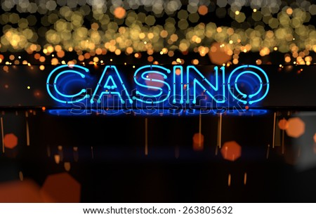 Neon Casino Sign. 3D render - stock photo