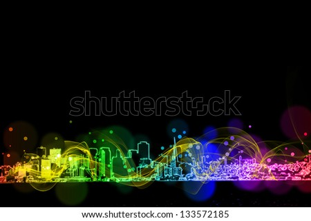 neon city colorful  light effect design