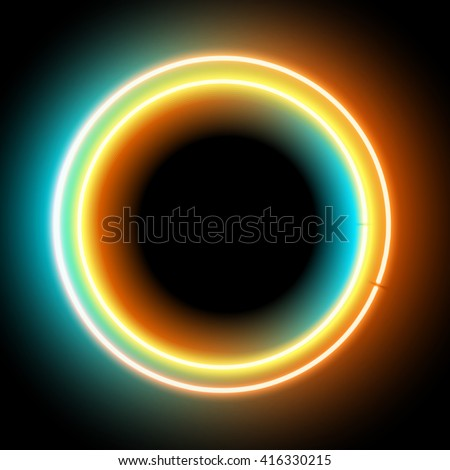 Neon colorful circle for your design. Electronic glowing circle frame with blank space on black background