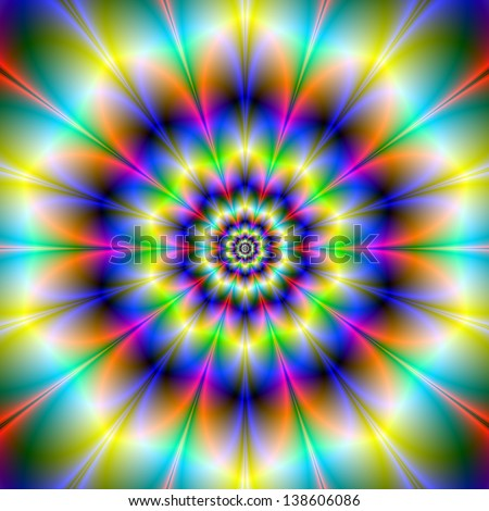Neon Daisy / Digital abstract fractal image with a neon flower design in yellow, blue and green.