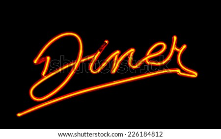 Neon Diner sign often found on traditional roadside cafes in the United States a perfect example on American Culture - stock photo