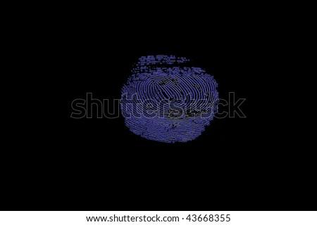 neon fingerprint glow in the dark - stock photo
