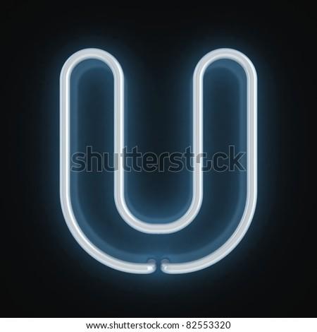 neon font letter u - stock photo