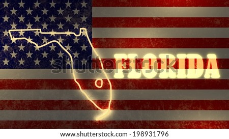 Neon Glowing Outline Map Of The Florida State On Usa National Flag Backdrop
