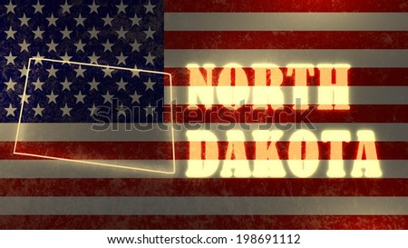 neon glowing outline map of the north dakota state on usa national flag backdrop - stock photo