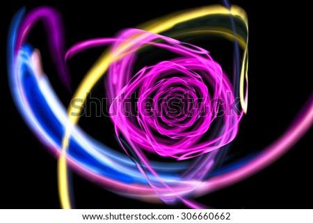 Neon glowing rose. Abstract illustration. Fractal Wallpaper on your desktop. Digital artwork for creative graphic design. Dark background. - stock photo