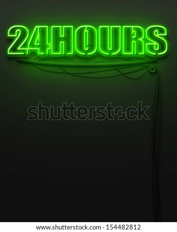 Neon glowing sign with word 24 Hours and copyspace - stock photo