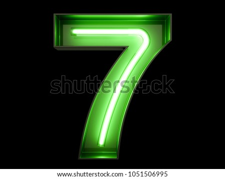 Neon Green Light Glowing Digit Alphabet Stock Illustration
