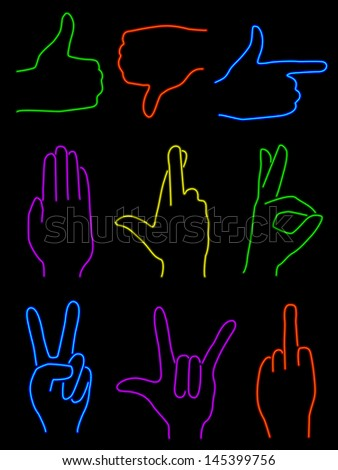 Neon Hands - raster - stock photo