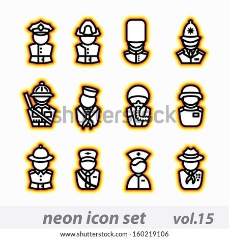 neon icon set - stock photo
