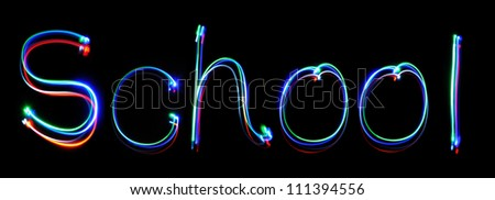 neon inscription school - stock photo
