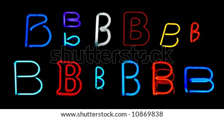Neon letters B collected from neon signs for design elements - stock photo