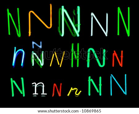 Neon letters N collected from neon signs for design elements - stock photo