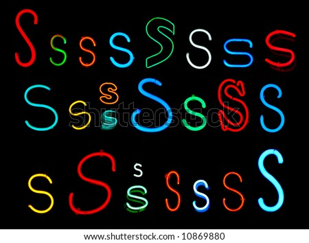Neon letters S collected from neon signs for design elements - stock photo