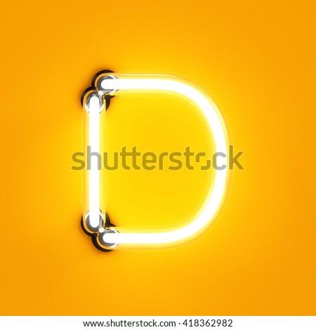 Neon light alphabet character D font. Neon tube letters glow effect on orange background. 3d rendering - stock photo