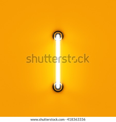 Neon light alphabet character I font. Neon tube letters glow effect on orange background. 3d rendering - stock photo