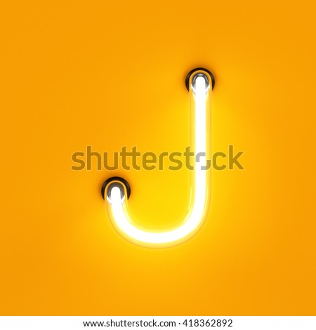 Neon light alphabet character J font. Neon tube letters glow effect on orange background. 3d rendering - stock photo