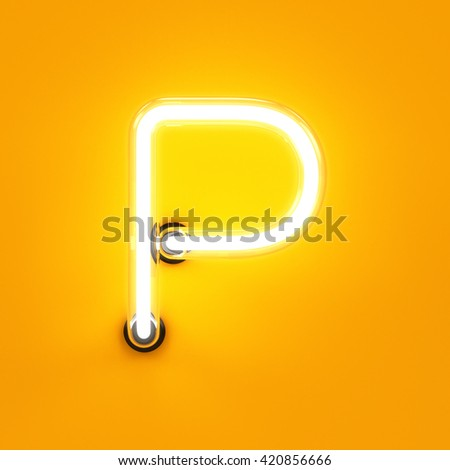 Neon light alphabet character P font. Neon tube letters glow effect on orange background. 3d rendering - stock photo