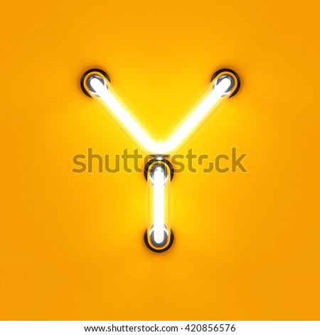 Neon light alphabet character Y font. Neon tube letters glow effect on orange background. 3d rendering - stock photo