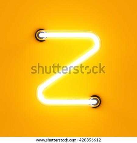 Neon light alphabet character Z font. Neon tube letters glow effect on orange background. 3d rendering - stock photo