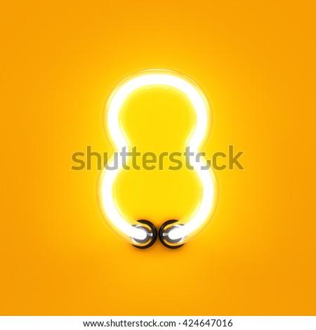 Neon light digit alphabet character 8 eight font. Neon tube letter glow effect on orange background. 3d rendering - stock photo