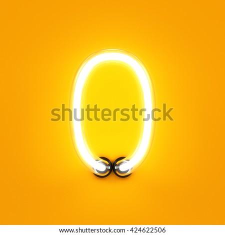 Neon light digit alphabet character 0 zero font. Neon tube letter glow effect on orange background. 3d rendering - stock photo