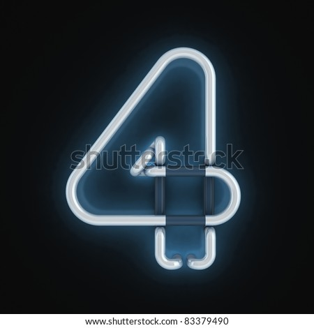 neon light font number four - stock photo