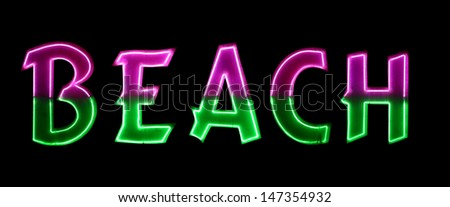 Neon light with the word Beach - stock photo