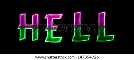 Neon light with the word HELL - stock photo