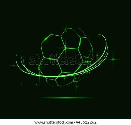 Neon lines of soccer ball. - stock photo