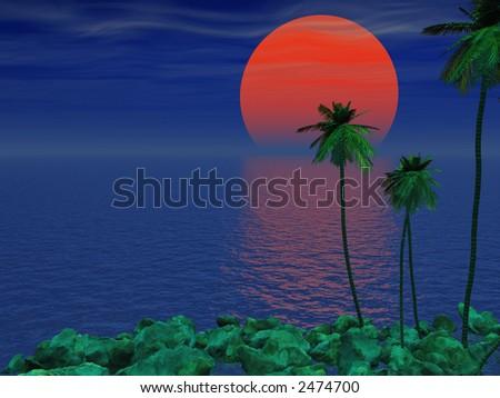 Neon Moon Over Tropics - stock photo