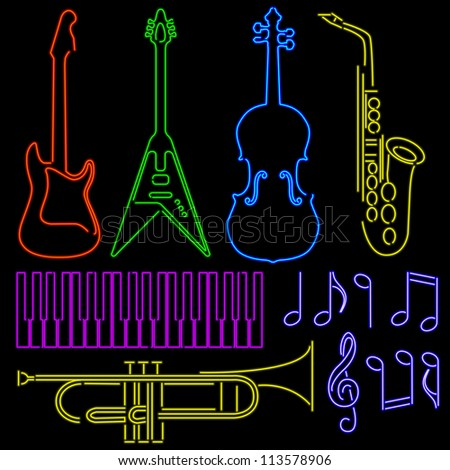neon music signs - raster - stock photo