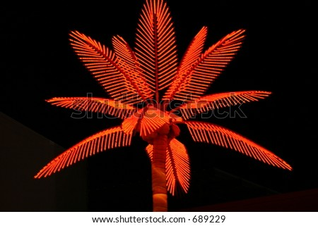 Neon Palm Tree at the Texas State Fair - stock photo