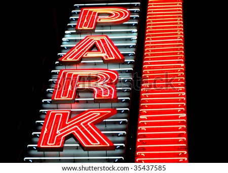 Neon Parking sign - stock photo