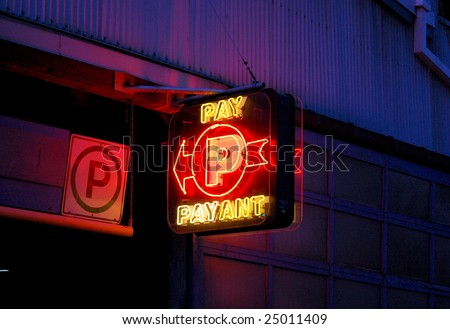neon parking sign; granville island, vancouver, canada
