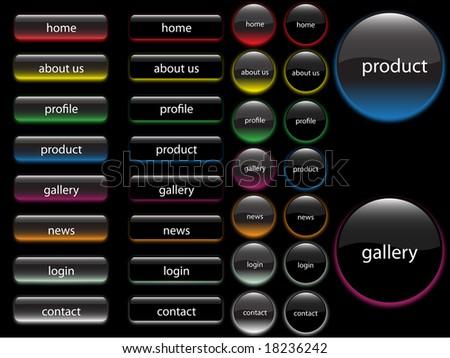 neon shiny button/banner vector design - stock photo