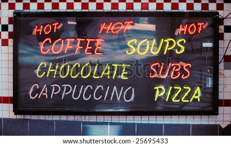 Neon sign advertising food and drinks - stock photo