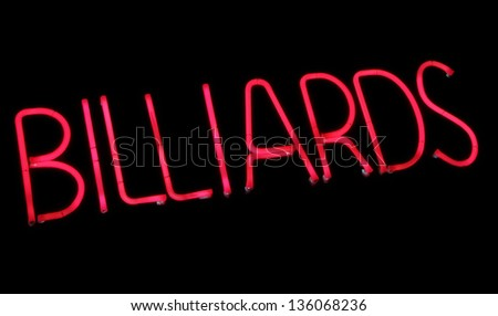 Neon sign, Billiards. Photograph.
