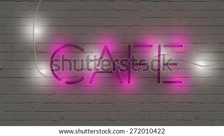 Neon sign cafe - stock photo